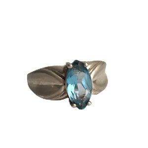 Vintage Blue Topaz Sterling Silver Ring Marquise